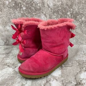 UGG Hot Pink Bailey Bow Ankle Boot Size 6